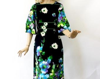 Vintage 70s Floral Maxi Dress Alice of California Black Hawaiian Long Dress Cotton Barkcloth Bust 36