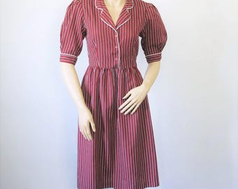 Dress Handmade Vintage School Girl Shirtwaist Striped Maroon Dress Puff Sleeve Gathered Skirt Size Small