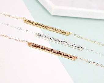 Kids name necklace • Personalized long bar name necklace • Mother necklace • Kids Name Layering necklace • Bar necklace • Mother Necklace