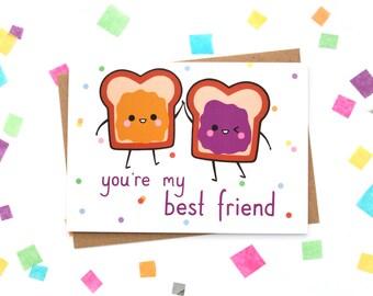 Best Friend Card, Peanut Butter Jelly, PB&J, Greeting Card, Kawaii Paper Goods