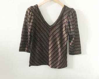 80's Shimmery Glam Disco Top