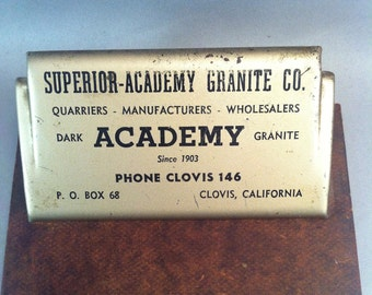 Vintage 1930's Clovis California Advertising Clip Board, Superior-Academy Granite Comapany, Academy Dark Granite, Clovis California,USA ONLY
