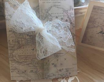 Bridal Shower Invitation Vintage Travel Style Engagement Party Invitation Travel Theme Vintage Maps Set of 10 Invitations
