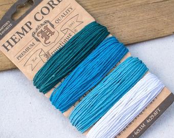Blue Hemp Twine,   Craft Cord, Macrame Cord, Blue String, Bead Cord,  Hemp Fiber -CH61