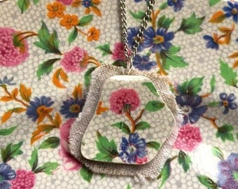Broken china jewelry - china pendant necklace with chain - antique china shard on linen pendant - English chintz old cottage
