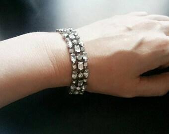 Sparkling Vintage Rhinestone Art Deco Bracelet, Wedding Bridal Bracelet, Clear Rhinestone Bracelet, Wedding Jewelry, Formal Bracelet, Prom