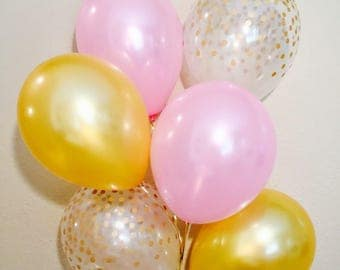 Pink and Gold Confetti Look Balloons, Pink and Gold Balloons, Gold Latex Balloons, Pink and Gold First Birthday, Pink and Gold Party,