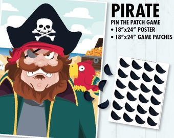 Pirate Party - Pin the Patch on the Pirate, Pin the Eyepatch Game, Pirates of the Caribbean Party | INSTANT Download PDF - Printable Game