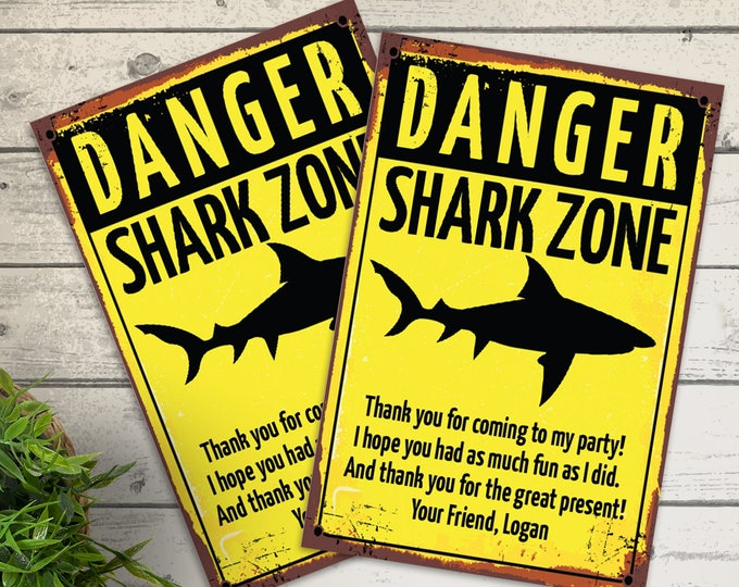 Shark Party Thank You - Shark Birthday Party, Shark Zone Thank You Card with Editable Text | DIY INSTANT Download PDF Printable