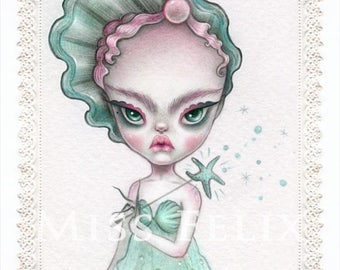 Sea Witch - signed 8x10 Fine Art Print - Pop Surrealism lowbrow art by KarolinFelix - open edition, unframed
