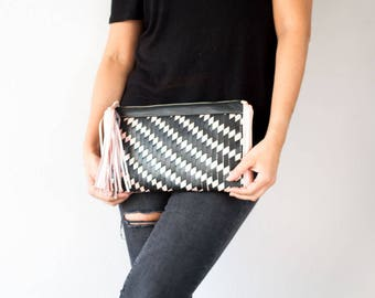 Handwoven black and pink leather clutch purse, flat rectangular clutch handbag womens purse pattern evening  bag - The Leto clutch