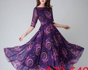 Sale, more than 50% off, Purple Floral Dress, women dresses, maxi dress, half sleeve dress,Party dress