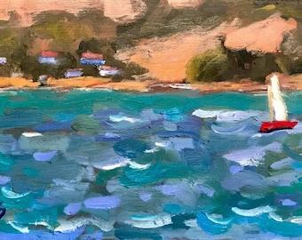 RED SAILBOAT - Port Costa CA, 6 x 12 - Plein Air - Oil Painting - Sailboats - Cottage Home Decor - California - Seascape - San Francisco Bay