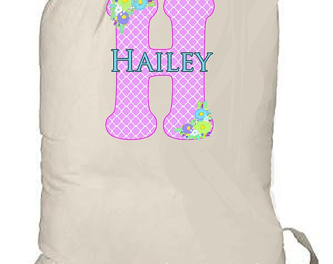 Girl's Summer Camp Bag, Large Monogrammed Weekend Bag, Summer Beach Bag, Personalized Canvas Laundry Tote, Grad Gift, Graduation Present