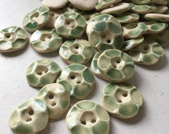 light green ceramic buttons--SMALL