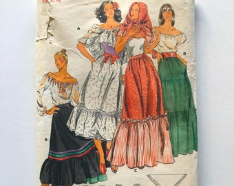 Vintage Sewing Pattern, Women's 70's Uncut, Butterick 5375, Skirt, Scarf (XS)