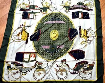 Vintage Designer Hermes Silk Scarf - Les Voitures a Transformation. La Perriere
