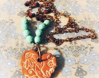Ceramic Heart Beaded Necklace