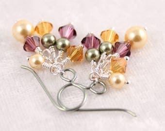 Summer Fruit Swarovski Cluster Earrings, Gold Purple Green, Hypoallergenic