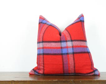 "20""x20"" Bright Red Plaid Vintage Wool Pillow Cover 
