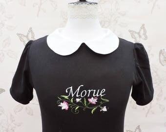 T-shirt noir col claudine blanc avec broderie insulte Morue