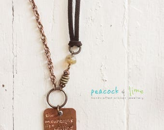 the Mountains are Calling handstamped necklace //rustic mixed metal/original handmade mountain peak jewelry/adjustable length vegan friendly