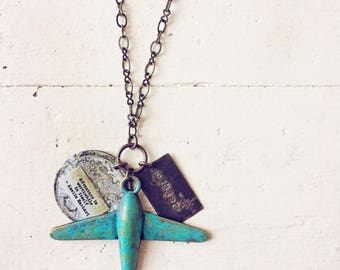 Wander airplane, quote & map necklace // adventure is worthwhile Amelia Earhart // vintage inspired rustic brass necklace // handstamped tag
