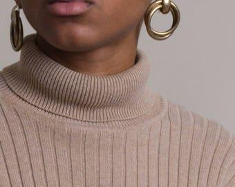 Vintage Gold Doorknocker Earrings