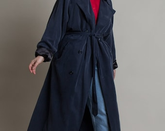 Vintage 90s Navy London Fog Trench Coat