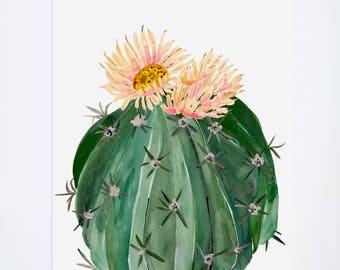 Watercolor Cacti 04 -  Cactus + Flowers  - Floral Prints  - 11 x 14  - Illustration - Art Print