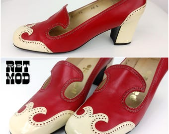 WOWZA!! Vintage 60s MOD Red & Cream Spectator Loafer Pumps Shoes