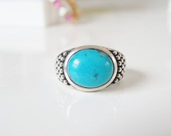 Vintage Sterling Silver 925 Sleeping Beauty Turquoise Multi Beaded Bead Ring Size 7