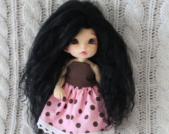 Full Black mohair wig for Pukifee / Lati Yellow / other small doll