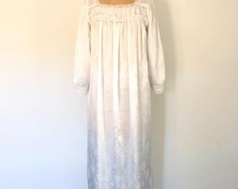 Vintage Dior Nightgown 1970s Lingerie White Floral Lace Trim S/M