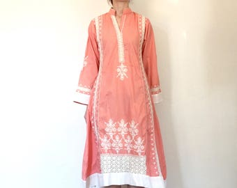 1970s Dress Vintage Pink White Lace Embroidery Midi Dress Bell Sleeve Hippie Boho XS/S