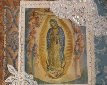 Handmade Our Lady of Guadalupe Virgin Mary Shrine Altar Devotional Folk Art Handmade Wall Hanging Retablo Fabric Collage OOAK