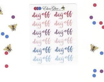 PURPLES & Pinks DAY OFF Planner Stickers |  BeeColorful Rose Plum Periwinkle
