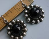 Vintage Onyx Sterling Mexico Earrings