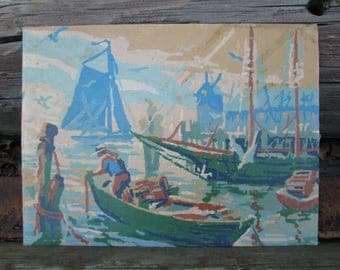 Paint by Number Vintage Boats at Anchor Harbor Sailboat Mid Century PBN Unframed Painting