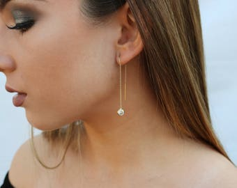 CZ Threader Earrings, Dangling Simulated Diamond Ear Threads, CZ Dangling Earrings, 14kt Gold Filled, Sterling Silver
