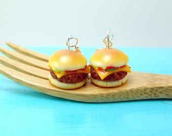Cheeseburger Earrings // Burger Earrings // Food Jewelry MADE TO ORDER
