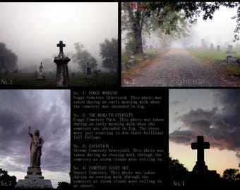 5x7 New England Graveyard / Cemetery Photo Art Print(s). Misty, foggy autumn photos. Halloween or everyday decor.