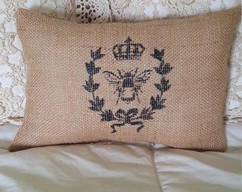 burlap pillow, Bee, paris