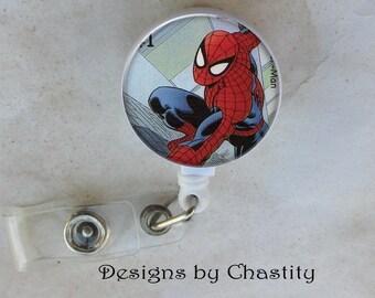 Spider-man Badge Reel Retractable ID Belt Clip - Altered Art Forever Stamp