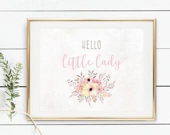 Hello Little Lady Print, Nursery Print, Girl's Room Print, Pink and Grey Floral Print, Sweet Nursery Print, Baby Shower Gift