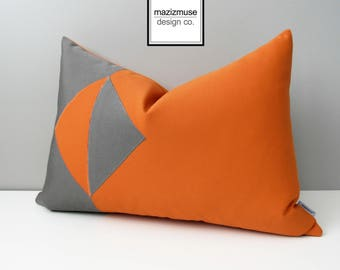 Modern Orange & Grey Outdoor Pillow Cover, Modern Geometric Color Block, Sunbrella Pillow Case, Gray Cushion Cover, Mazizmuse Eclipse