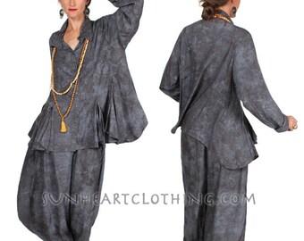 Sunheart Taos Ruffle Shirt Blouse Graphite Top Boho Hippie Chic Resort Wear Casual Womens Wear Sml-2x