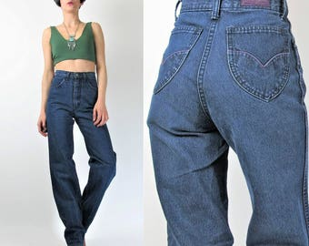1970s High Waisted Jeans Womens 70s Jeans Dark Wash Denim Straight Leg Blue Jeans Sparkly Glitter Jeans Vintage Womens Jeans (XS)) E7045