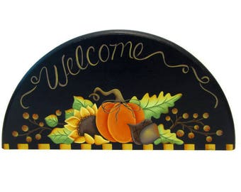 Primitive Pumpkin Sunflower Welcome Door Crown, Handpainted Wood Fall Sign, Hand Painted Autumn Decor, Tole Decorative Painting, L1
