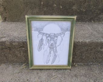 """Nice Vintage Wood Framed 1970's Unfinished Amateur Pencil Drawing/Sketch of Western Cow Skull Adorned w/Feathers 11""""x9"""" ~ Southwest Decor ~"""